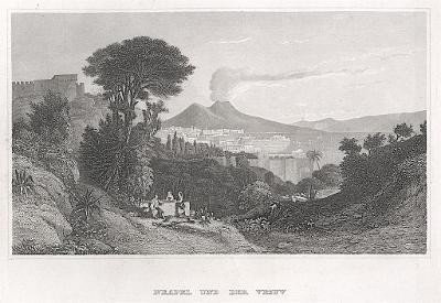Napoli Vesuv, Meyer, oceloryt, 1850