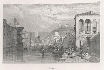 Pisa,  Meyer, oceloryt, 1850
