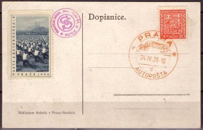 POHLEDNICE STAVBA SOKOLOVNY V NUSLÍCH, RAZ. AUTOPOŠTA 1938 (S3252)