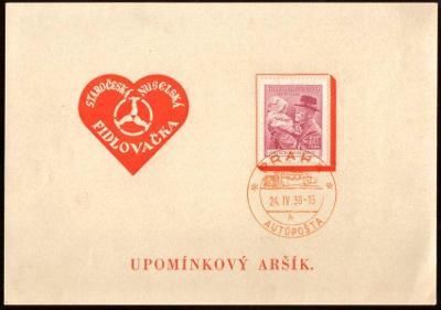 PAMĚTNÍ KARTA NUSELSKÁ FIDLOVAČKA, RAZ. AUTOPOŠTA 1938 (S3263)