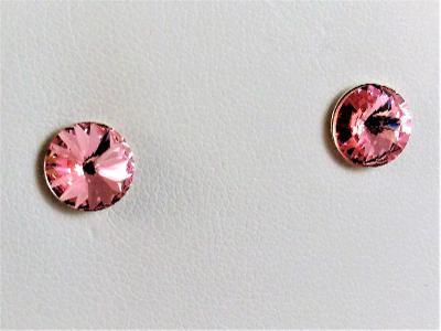 Stříbrné náušnice s krystaly Swarovski Rivoli 6 mm (SS29) Rose lt F