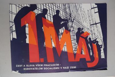 Plakát - 1. máj - komunismus, propaganda, budování soci