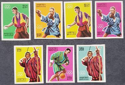 Bhutan 1964 Olympijské hry, 7ks známek bez perforace, kat.16 Euro!
