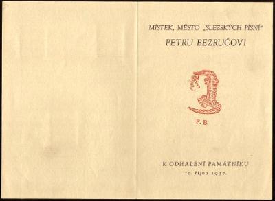 PAMĚTNÍ LIST PETR BEZRUČ, MÍSTEK 1937 (S3281)