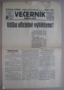 VÁLKA VYHLÁŠENA - zvláštní vydání - Večerník práva lidu  - 1914