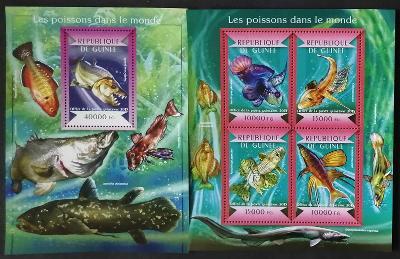 Guinea 2015 Mi.10917-0+Bl.2479 36€ Mořské a korálové ryby