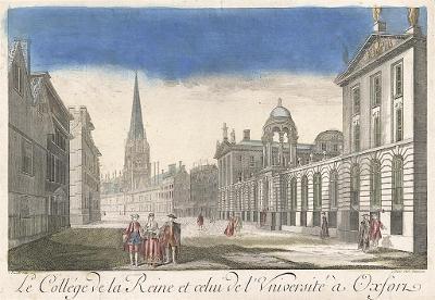 Oxford Queens Coll., Oxford, kolor mědiryt, (1790)