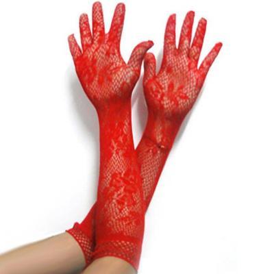 Sexy síťované delší prstové rukavice 7618