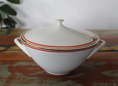 Stará porcelánová polévková mísa, terina, značená