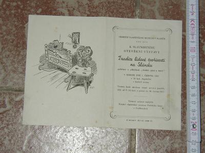 pozvánka na výstavu- Slané 1957