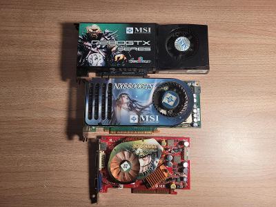 3x grafika - MSI GTX 280, MSI GTX 8800, MSI 6600GT