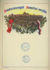 Ozdobný pamětní list Protektorát 1941