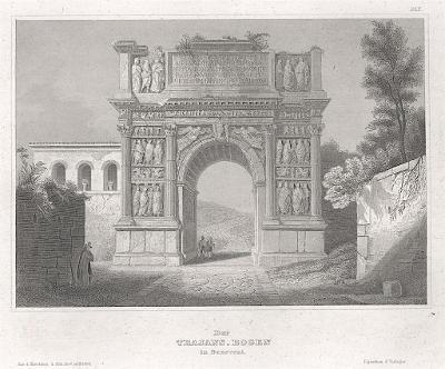 Benevento Arco di Traiano, Meyer, oceloryt, 1850