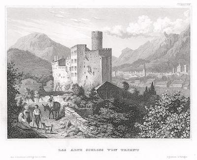 Trento hrad, Meyer, oceloryt, 1850
