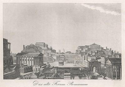 Roma Forum Romanum kdysi, mědiryt, (1820)