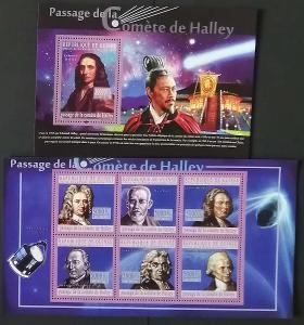 Guinea 2010 Mi.7606-1+Bl.1838 22€ Halleyova kometa, vesmír