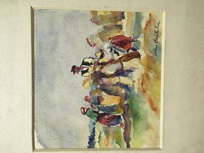 Akvarel - Žně na horách - Alois Bátrla