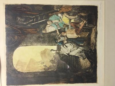 """Historický obraz - barevná kresba """"Loď v okně"""""""