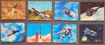 Bhutan 1970 , kosmos, Apollo 13, 8ks známek 3D plast provedení