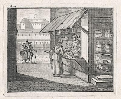 Obchodník - obchodnice, mědiryt, 1777