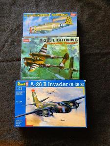 Plastikové modely 1:72-Invader, Lightning, Thunderbolt + lepty Eduard