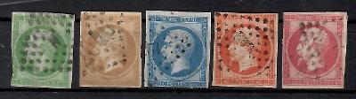 509 - Francie 1853,  Mi 11a,12Ic,13Ia,15a,16a, eur 200
