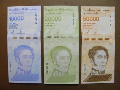 10+20+50.000 Bolivares 2019 Venezuela - široký segm. - UNC -  /H148/
