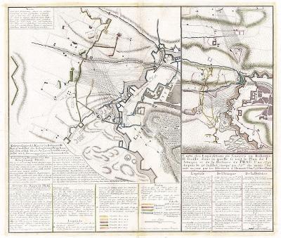 Homann : Obléháni Prahy 1742, mědiryt, 1743