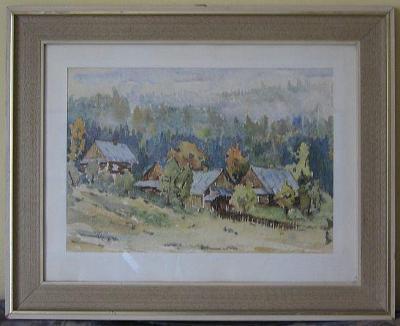 XL Akvarel - Pohled na Beskydy, Edward Kaim, 1984, 66,5 x53,5 cm
