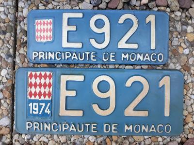 Originál stará SPZ Monaco 2ks - pár, unikát, Monako
