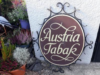 Veliká stará reklamní plechová cedule tabák Austria