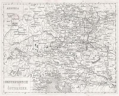ěchy Rakousko, Payne, oceloryt, (1845)