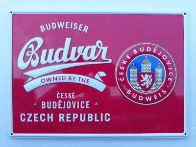 Plechová reklamní cedule - Budweiser Budvar, pivo