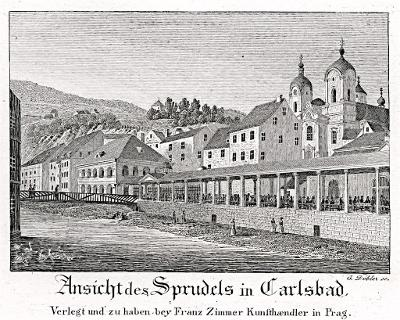 Karlovy Vary kolonáda, Döbler, mědiryt, 1830