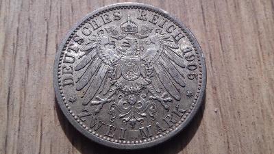 Německo stříbro 2 marka Wilhelm II. 1905 r.l.