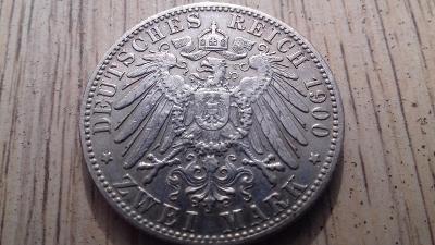 Německo stříbro 2 marka Württemberg 1900