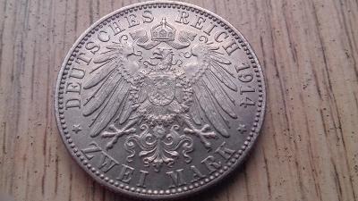 Německo stříbro 2 marka Württemberg 1914 r.l.