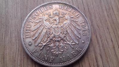 Německo stříbro 5 marka Wilhelm II.  Jubilejní
