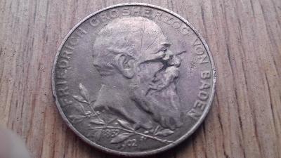 Německo stříbro 2 marka Baden 1902 jubilejní poškozená - po sponě
