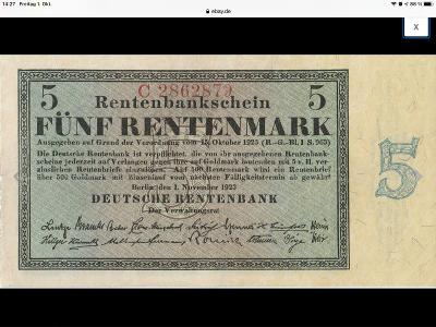 5 Rentenmark, 1.11.1923 about uncirculated, perfect co