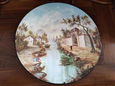 Starožitný nádherně malovaný porcelánový talíř - závěsný