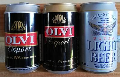 3 starší pivní plechovky Finsko