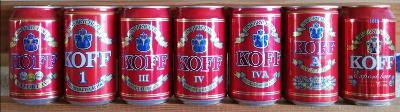 7 starších pivních plechovek Koff Finsko