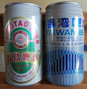 2 starší pivní plechovky 1x Čína a 1x Tajwan