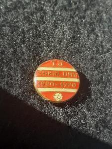 Odznak TJ SOKOL UHY, výroční 50 let 1920 - 1970 - červená varianta