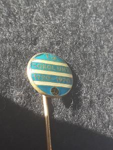 Odznak TJ SOKOL UHY, výroční 50 let 1920 - 1970 - modrá varianta