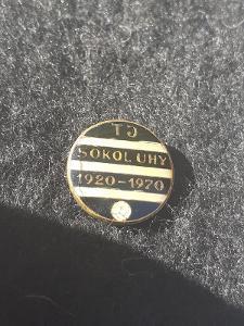 Odznak TJ SOKOL UHY, výroční 50 let 1920 - 1970 - černá varianta