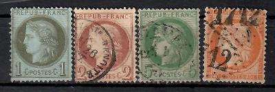 516 - Francie 1870, Mi 36,37a,39b,43a, eur 680