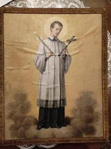 Olej na plátně, sv. Alois z Gonzagy, pol. 19. století