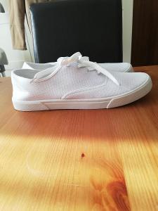 Ambellis- Nové pánské, bílé, textilní tenisky, vel.42,stélka 27 cm.